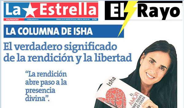 """""""El poder de la Vulnerabilidad"""" por Isha Judd en la Revista El Rayo de la Estrella de Valparaíso, Chile, 3 de Septiembre de 2016"""