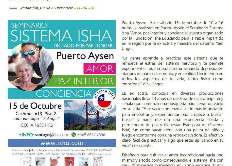 Entrevista a Yael Unger en el Diario El Divisadero – Seminario del Sistema Isha en Puerto Aysén, Chile