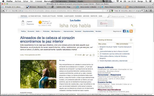 Columna de Isha en los Andes.co.ar