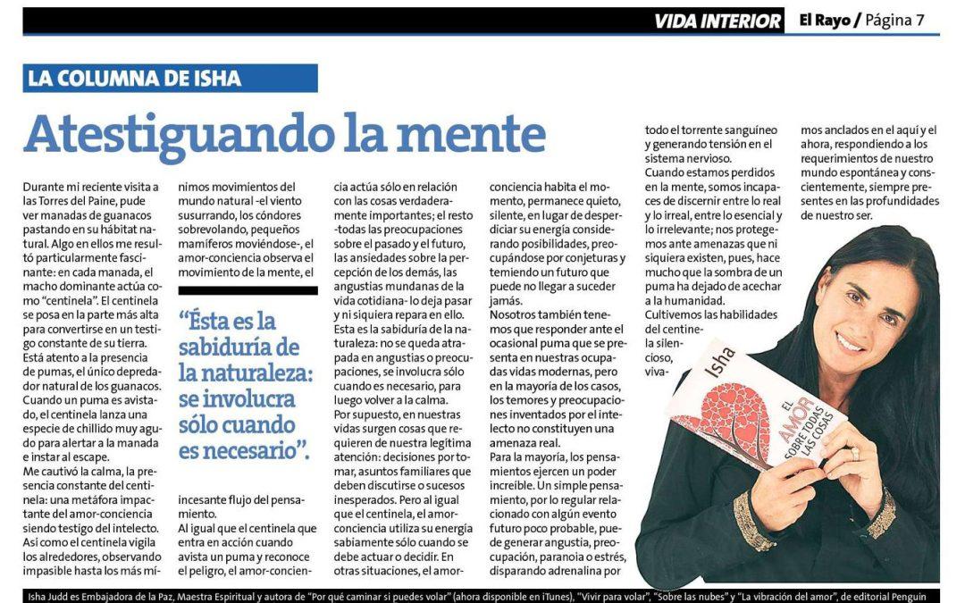 """""""Atestiguando la mente"""" por Isha Judd en la revista El Rayo en la Estrella de Valparaíso, Chile."""